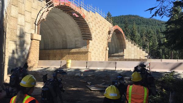View from ground level Monday of the new wildlife-only overcrossing on I-90 east of Snoqualmie Pass.