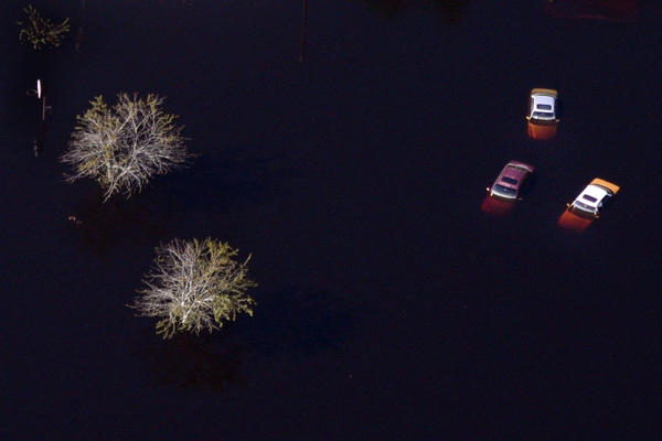Aerial views of flooding and submerged cars from Hurricane Florence in Lumberton, N.C.