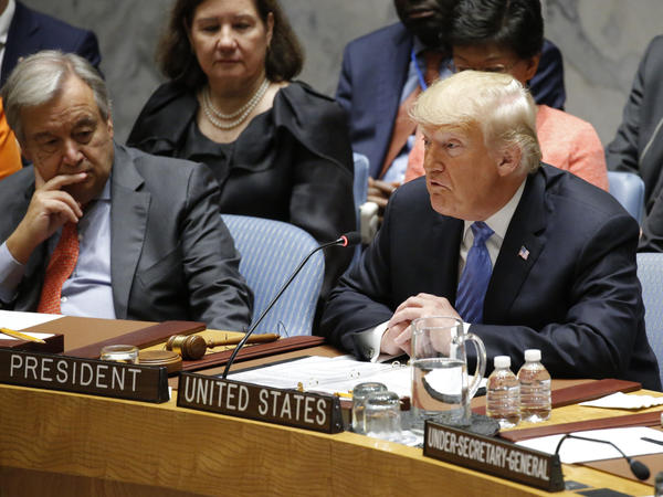 """Regrettably, we found that China has been attempting to interfere in our upcoming 2018 election — coming up in November — against my administration,"" President Trump said Wednesday at a meeting of the U.N. Security Council. Looking on is U.N. Secretary-General António Guterres."