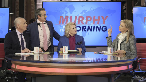 Joe Regalbuto (from left), Grant Shaud, Candice Bergen and Faith Ford in the newly revived <em>Murphy Brown</em>.