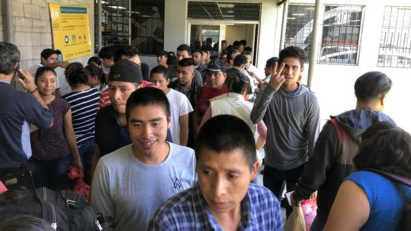 Guatemalan deportees at the airport in Guatemala City, after being flown back by Immigration and Customs Enforcement. ICE Air is $107 million over budget so far this fiscal year.