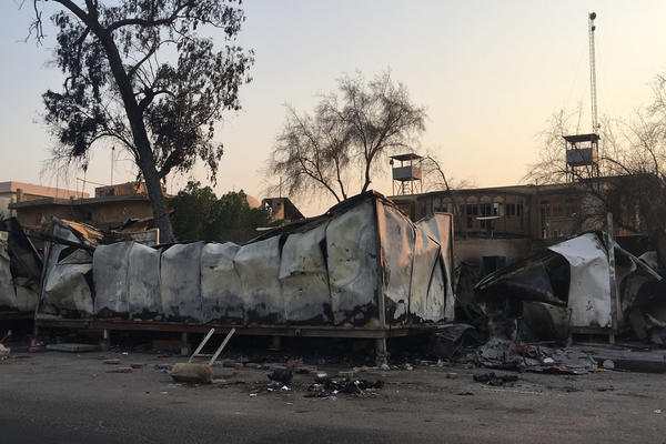 Remains of the provincial governor's guest house near Basra's corniche after being burned by anti-government protesters.