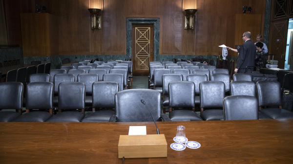 The Senate Judiciary Committee hearing room is prepared for Thursday's planned testimony from Christine Blasey Ford on Capitol Hill.