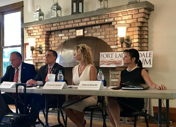 Fort Lauderdale Vice Mayor Ben Sorensen, left, Kathleen Cannon from the United Way of Broward County, center, and Rebecca McGuire from the Broward Homeless Initiative Partnership, right, all spoke Wednesday at the Fort Lauderdale Forum.