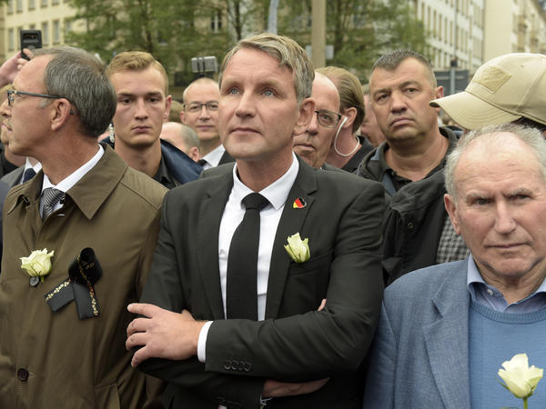 Björn Höcke (center), a politician from the Alternative for Germany party, participates in a march in Chemnitz, eastern Germany, on Sept. 1, after several nationalist groups called for marches protesting the killing of a German man allegedly by migrants.