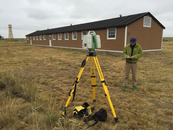 Mike Nulty with the Center of Preservation Research at University of Colorado-Denver uses LIDAR to scan the landscape at Camp Amache in southeast Colorado.