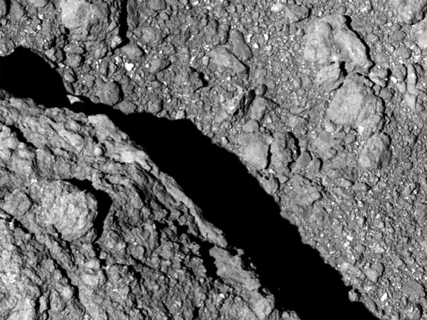 The surface of asteroid Ryugu, taken from the Hayabusa2 spacecraft.