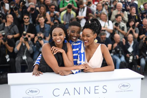 From left: Kenyan director Wanuri Kahiu and actors Samantha Mugatsia and Sheila Munyiva at the Cannes Film Festival.