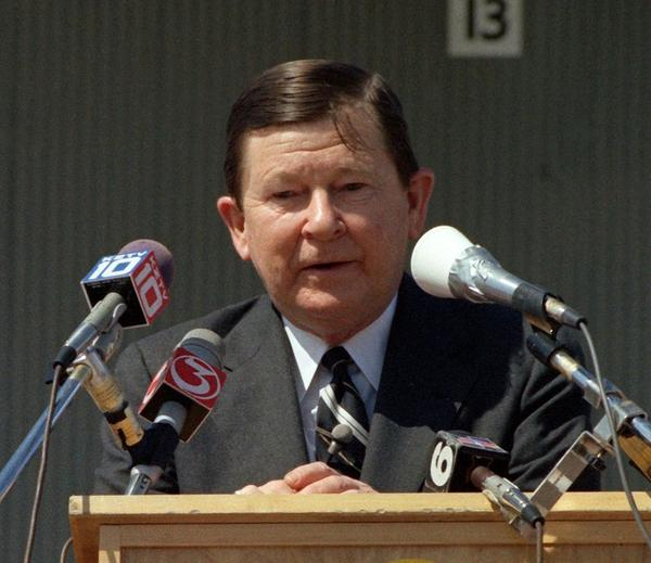 U.S. Sen. John Tower speaks at a ceremony in 1983 in Corpus Christi for the nuclear-powered attack submarine USS City of Corpus Christi.
