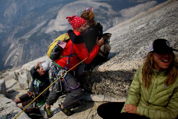 Skelton hugs his wife, Tucker Hirsch, as they reach the summit of Half Dome in Yosemite National Park in 2013.