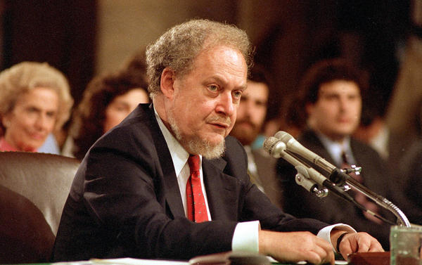 Supreme Court nominee Robert Bork testifies before the Senate Judiciary Committee on Capitol Hill on Sept. 16, 1987.
