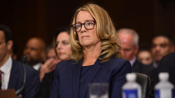 Christine Blasey Ford testifies to the Senate Judiciary Committee Thursday.