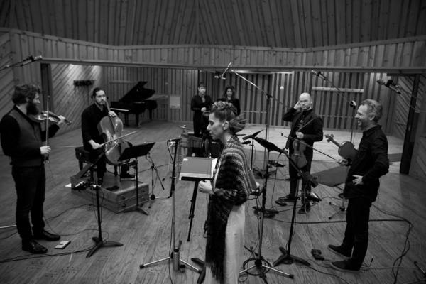 Magos Herrera in the studio with members of Brooklyn Rider. Her new album, <em>Dreamers,</em> is available now.