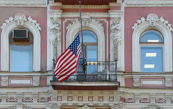 The U.S. Consulate building in St. Petersburg, Russia, was closed earlier this year in tit-for-tat diplomatic penalties between the two countries.
