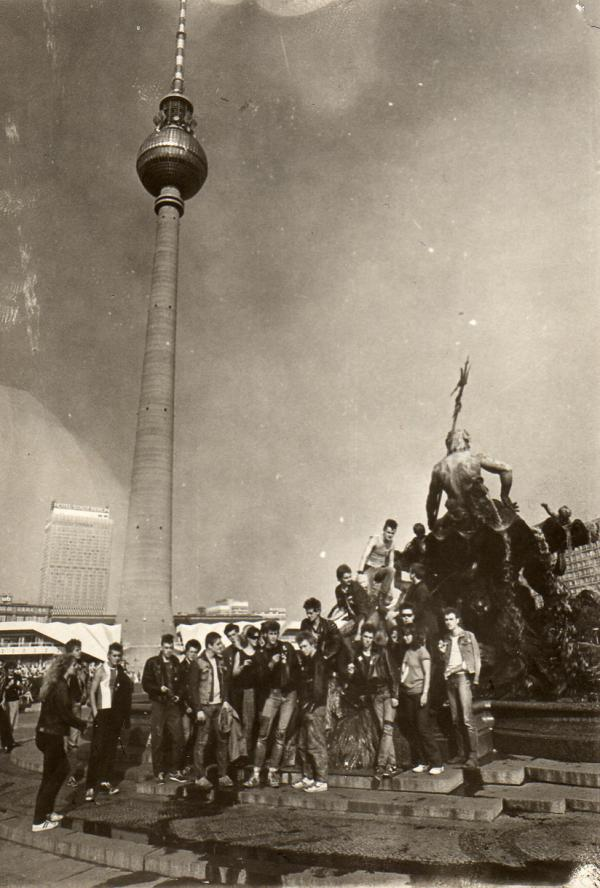 Punks gather on Alexanderplatz in East Berlin, 1981.