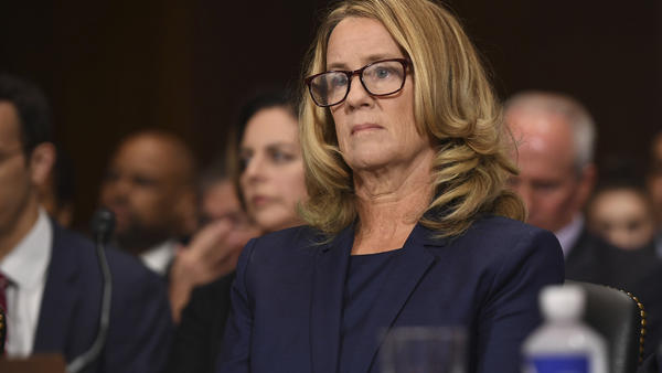 Christine Blasey Ford testifies to the Senate Judiciary Committee on Capitol Hill in Washington D.C., on Thursday.