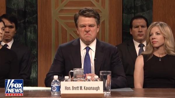 Matt Damon played Brett Kavanaugh on the 44th season opener of <em>Saturday Night Live.</em>
