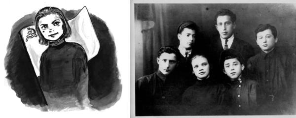In 1927 Lola (front row, middle) joined a <em>Prof-Soyuz</em> (a kind of Communist leisure organization) at the Kiev stamp-making factory in which she worked.