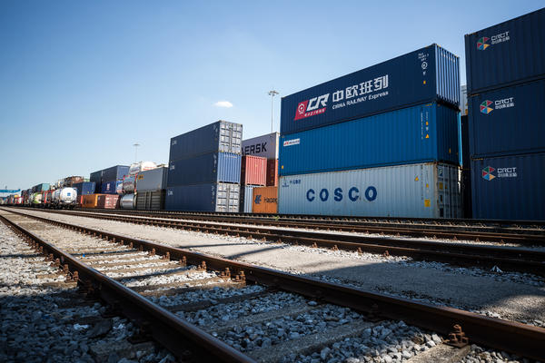 Containers from China are stacked next to the train station in the Duisburg port in July. Approximately 25 trains a week use a new connection between Duisburg and the Chinese cities of Chongqing and Yiwu. Several European countries use the railway for trading goods both from and into China.