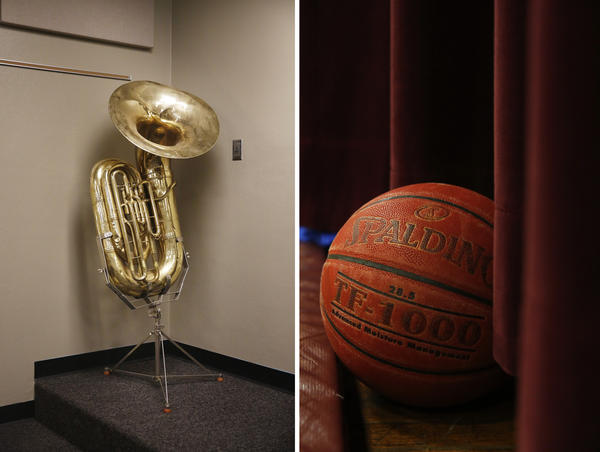 The Migrant Education Program helps schools like Angel's enhance resources for all students throughout the year. Left: A tuba at Minto High School. Right: A basketball in the Minto High gym.