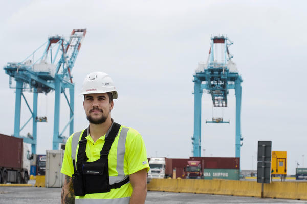 Matthias Simoens, 31, is a Zeebrugge port worker who coordinates the stevedores on shift duty. He says the Chinese company COSCO has infused the port with energy and purpose. He shrugs off China's politics.