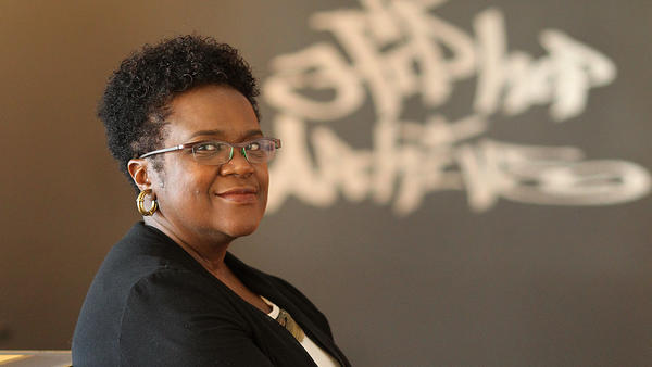 Professor Marcyliena Morgan teaches class in The Hiphop Archive and Research Institute, at Harvard University.