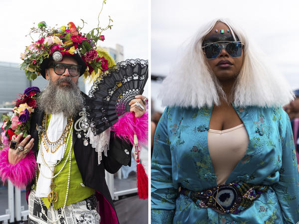 Emperor XX Vanity Society (left) and Elektra City attend Wigstock. The performance roster included<em> RuPaul's Drag</em> <em>Race </em>royalty<em>,</em> like Sharon Needles, Del Rio, Alaska, Bob the Drag Queen and Jinkx Monsoon.