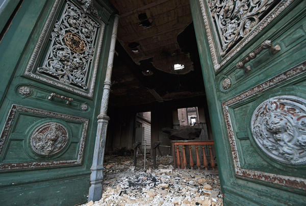 The entrance of Rio de Janeiro's treasured National Museum, one of Brazil's oldest, on September 3, 2018, a day after a massive fire ripped through the building.