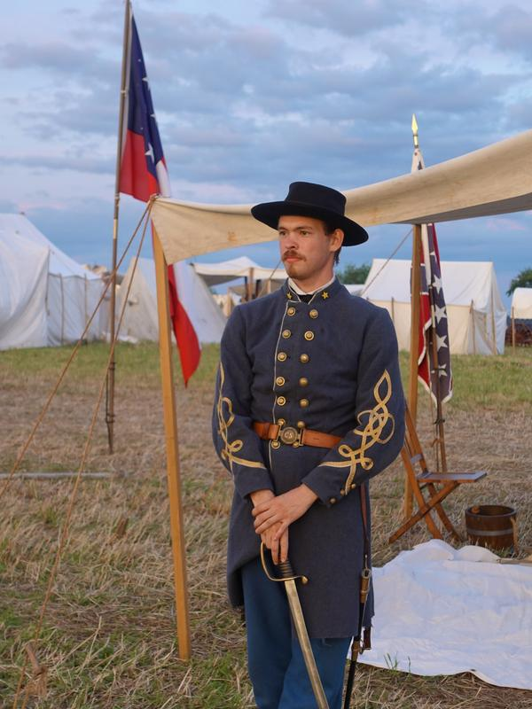 Gettysburg reenactor Rhett Kearns — who explained he is named after Rhett Butler from <em>Gone with the Wind</em> — in costume as Confederate officer Walter H. Taylor.