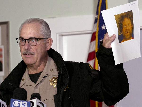 Assistant Tehama County Sheriff Phil Johnston displayed a photo of shooter Kevin Janson Neal, who was behind a series of shooting in November 2017. Russian social media agitators targeted the story.