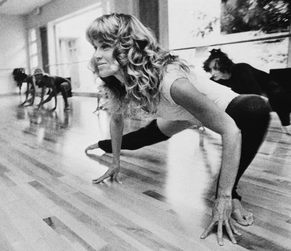 At the outset, the money from Fonda's workout videos went to the Campaign for Economic Democracy, an organization she co-founded with her second husband, Tom Hayden. Above, she exercises in her Beverly Hills studio in September 1979.