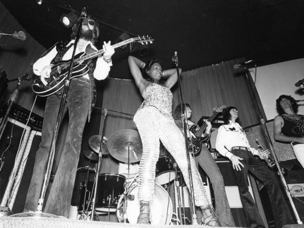 Sylvester performs with his band at the Los Angeles club Whisky a Go Go in 1972.