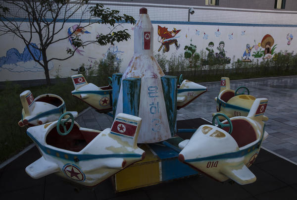 Playground equipment at a silk factory in Pyongyang is modeled after the Unha-3, a long-range rocket North Korea successfully launched in 2012. The Unha-3 is commemorated in framed photography, postage stamps and playground equipment across the country.