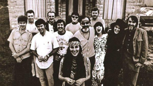 Cher's <em>3614 Jackson Highway</em> album cover, featuring the Muscle Shoals Rhythm Section, a.k.a. The Swampers.