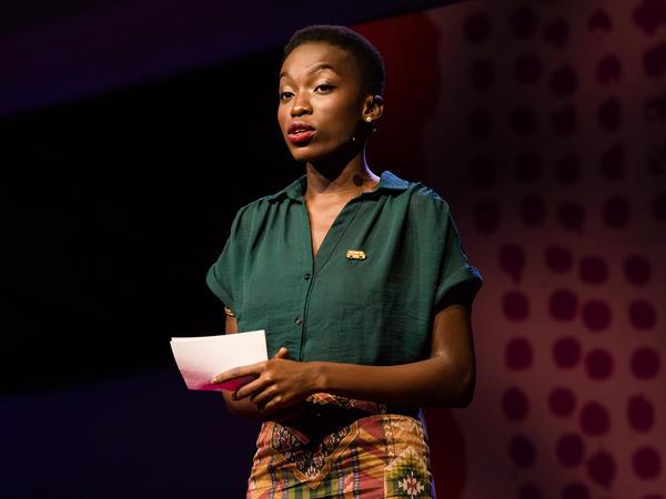 OluTimehin Adegbeye on the TED stage.