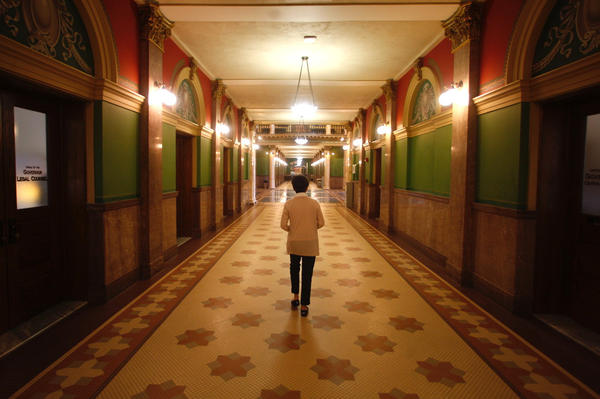 Bartlett walks through the Montana Statehouse. She held off hospital CEO and lobbyists' attempts to make an end run around her push for new pricing.