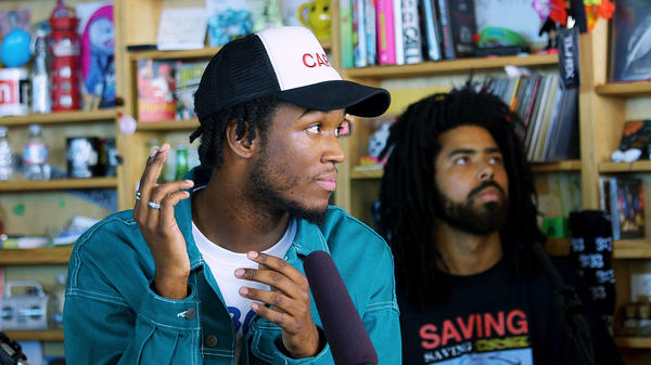 Saba performs a Tiny Desk Concert on Sept. 6, 2018 (Morgan Noelle Smith/NPR).