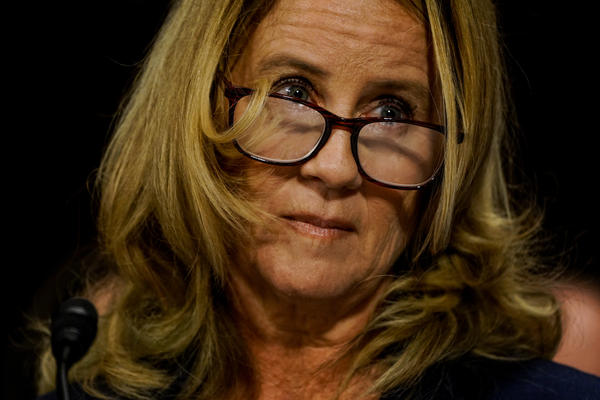 Christine Blasey Ford testifies before the Senate Judiciary Committee Thursday. The California professor has accused Kavanaugh of sexual assault while in high school decades ago, which he denies.