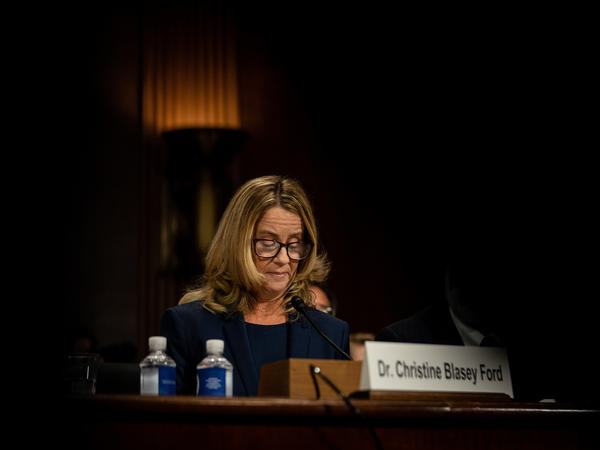 Christine Blasey Ford testifies before the Senate Judiciary Committee on Thursday.