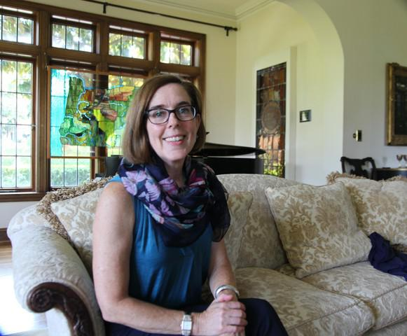 <p>Oregon Gov. Kate Brown in the living room of Mahonia Hall, the governor's official residence in Salem.</p>
