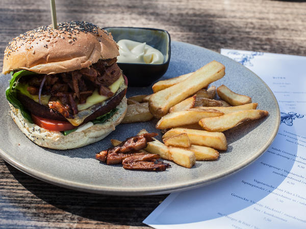 A vegetarian burger and fries is on the menu at the restaurant in The Hague, the Netherlands.