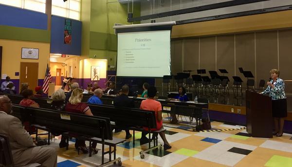 Superintendent Elizabeth Lolli address the crowd at Dayton Boys Prep Academy.