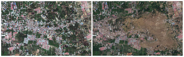 This photo layout of satellite images provided by DigitalGlobe shows the Petobo neighborhood of Palu, Indonesia, on Aug. 17, prior to the earthquake, and on Oct. 1, devastated by the subsequent tusnami.