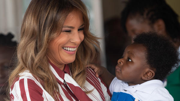 Melania Trump handed out blankets and made faces at babies at the Greater Accra Regional Hospital in Accra.
