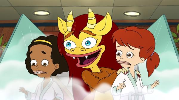 Giving a schvitz: Missy (Jenny Slate), Connie the Hormone Monstress (Maya Rudolph) and Jessi (Jessi Klein) barrel full steam ahead through puberty in the second season of Netlfix's <em>Big Mouth</em>.