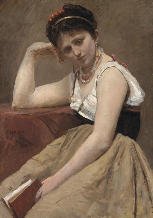 "Corot painted <em>Interrupted Reading </em>around 1870. ""It is not completely refined and finished in a contemporary academic way ..."" says curator Mary Morton. ""I think it's enough for him."""