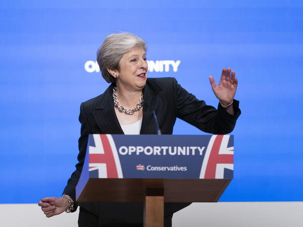 British Prime Minister Theresa May dances up to the podium for her speech Wednesday at the Conservative Party Conference in Birmingham, U.K.