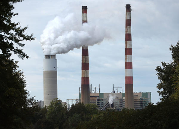 Emissions spew out of a large stack at the coal-fired Morgantown Generating Station on October 10, 2017 in Newburg, Maryland. (Mark Wilson/Getty Images)