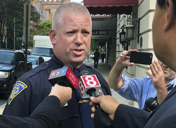 New Haven Police Officer David Hartman speaks to the media Tuesday in New Haven about a 1985 police report involving Supreme Court nominee Brett Kavanaugh.