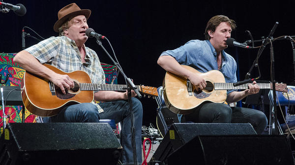 Jeff Daniels and his son, Ben Daniels, perform on <em>Mountain Stage</em>.